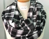 Flannel Infinity Scarf in Plaid Black and White