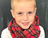Children's Flannel Scarf in Red Holiday Plaid