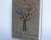 Wedding rustic photo album burlap Linen Bridal shower anniversary Blue squirrels on the Tree and autumn leaves