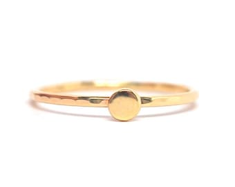 Ring- Gold Stack Ring - Yellow Gold Dot Pebble Stack Ring - Stacking Ring - 14k rose white yellow gold - Handmade to Order - Stackable 14k