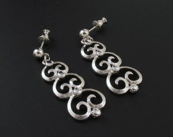 Monet Scroll Earrings, Silver Earrings, Monet Earrings, Long Earrings, Dangle Earrings