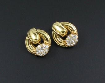 Swarovski Earrings, Rhinestone Earrings, Swarovski Door Knocker Earrings, Crystal Earrings, Gold Earrings, Statement Earrings