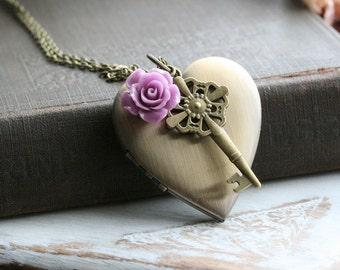 Heart Locket Necklace, Key Locket, 21st birthday Locket, Locket Pendant  Necklace, Gold Locket,  Large Locket, Vintage Locket - Patience