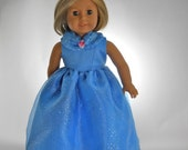 """18 inch Doll Clothes, Will fit American Girl and other 18"""" Dolls, Blue Ball Gown Dress, 09-0494"""