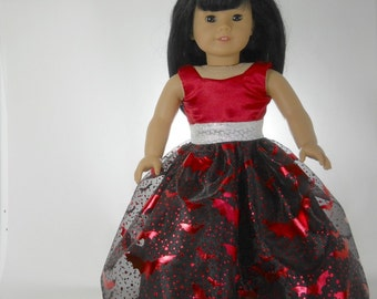18 inch doll clothes made to fit dolls such as American Girl®, Red Bats Halloween dress 09-1334