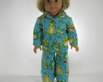 18 inch doll clothes made to fit dolls such as American Girl®, Turquoise Frog Pajamas, 01-0789