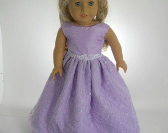18 inch doll clothes made to fit dolls such as American Girl, Lavender Flower Dress, 02-0934
