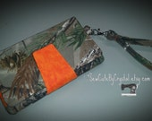 Ready to Ship - REAL TREE CAMO and Orange Wallet Clutch with 8 Credit Card Slots, 1 Zipper pouch, and 2 Slots for Money