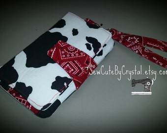 COW & RED BANDANA Wallet Clutch with 8 Credit Card Slots, 1 Zipper pouch, and 2 Slots for Money