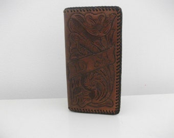 Tooled 70's Leather Checkbook Case, Initials D M