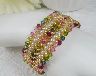 Woven Pearl Bracelet Double Flat Spiral Tourmaline Colors