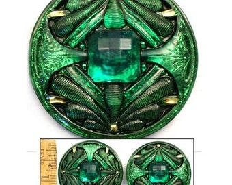1pc 42mm Vintage Art Nouveau Emerald GREEN Glitter Gold DOUBLE DRAGONFLY Czech Glass Button