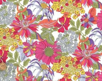Liberty Tana Lawn Fabric, Liberty of London, Liberty Japan, Angelica Garla, Cotton Print Scrap,  Floral Design, Quilt, Patchwork, kt1034b