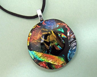 Multicolored Dichroic Jewelry - Fused Glass Necklace - Round Dichroic Glass Pendant For Her - 38-16