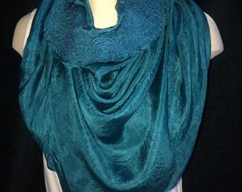 Rich teal blue silk triangle scarf, head scarf, shawl, bandana
