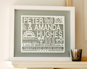 Personalized 25th Silver Wedding Anniversary Paper cut Gift Art, gift for anniversary, gift for married couple, silver anniversary gift,