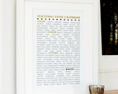 Seasonal Food Calendar in Gold Foil - SPECIAL OFFER - gift for food lovers, sustainable living, kitchen art, seasonal food list, cooking