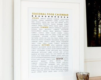 Seasonal Food Calendar in Gold Foil - gift for food lovers, sustainable living, kitchen art, seasonal food list, cooking