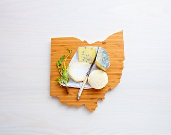 Ohio Cutting Board 4th of july Gift Personalized engraved Ohio cheese state shaped board