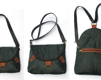 Unique double use green messenger/ backpack with orange details, UPCYCLED LEATHER