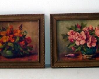 2 Small Botanical Flower Framed Prints, Artist Signed Name, Reliance Picture Frame Co. 5210, Home Decor, Flower Print, Flower Art, Cottage