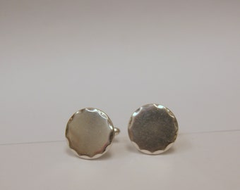 Vintage 1960s Mod Swank Silver Cuff links perfect for Monogram