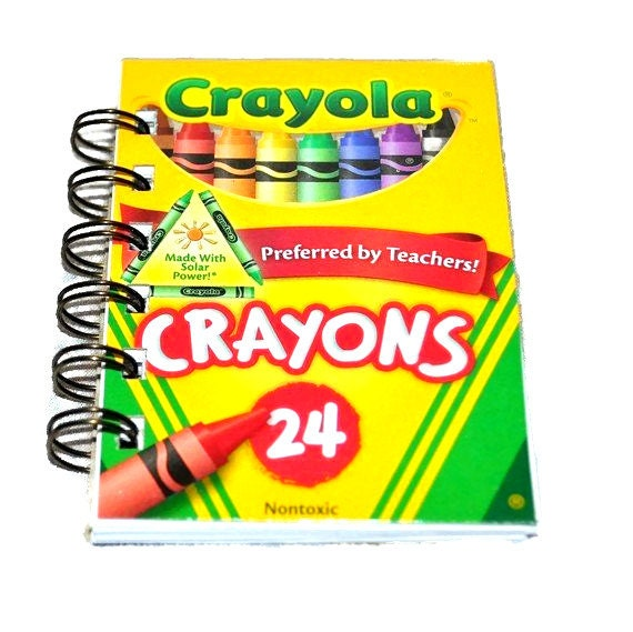 Recycled Mini Crayon Spiral Bound Notebook-Total of 12 Notebooks.