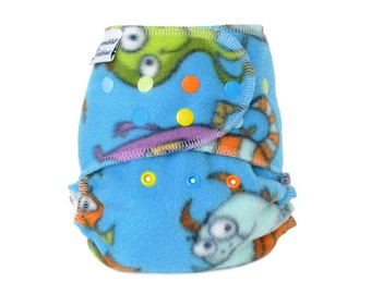 Cloth Diaper Cover OS, Fleece - Monsters, blue