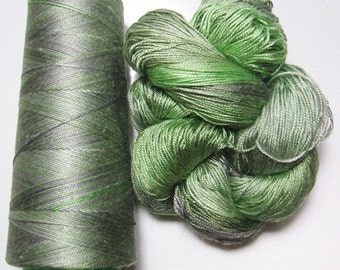 100% Pure Mulberry Queen Silk Yarn 50 gram 3 Ply Lace Weight Green Garden QS015 Lot E - Cone or Hank