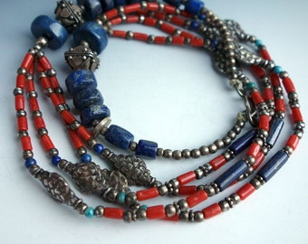Coral Lapis Tribal Ethnic Necklace