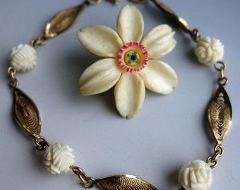 Carved Bone Edelweiss Rose Filigree Pin Bracelet Lot