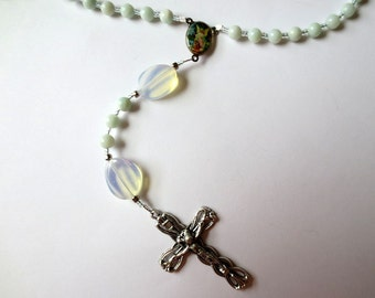 Mint Green Rosary of Amazonite with Opal, Guardian Angel and Saint Michael Center, Angel Rosary, October Birthstone Catholic Rosary