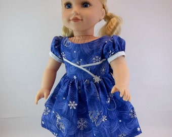 18 inch Doll Clothes  Doll Dress Fits American Girl Doll Blue Snowflake Christmas Dress