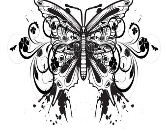 Butterfly with Grunge-Digital Immediate Download-ClipArt-Art Clip-Flower-Flourish.