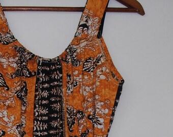 batik in mustard browns...vintage cotton summer wrap dress