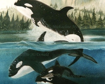 Orca Whales Painting - whale painting, whale art, whale print, whale poster, Orca whales, killer whales painting, nautical decor
