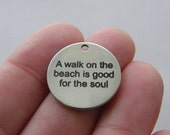 BULK 10 A walk on the beach is good for the soul tag charm 20mm  stainless steel TAG9-1