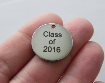 1 Class of 2016 engraved tag charms 20mm stainless steel TAG9-1