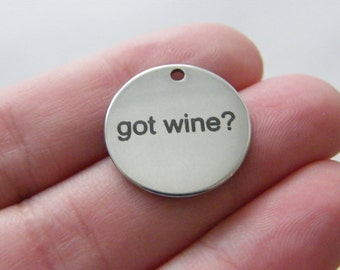 1 got wine ? tag charm 20 x 1mm  stainless steel TAG9-1