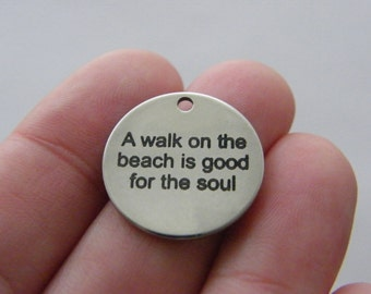 1 A walk on the beach is good for the soul tag charm 20mm  stainless steel TAG9-1