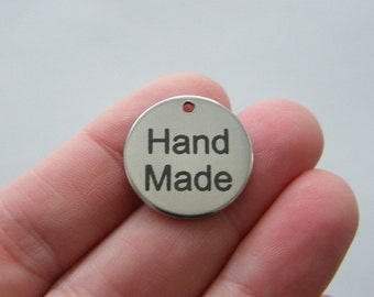 1 Hand Made charm 20mm  stainless steel TAG9-2