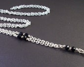 Black crystals and Silver chain Identification lanyard necklace