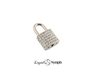 Crystal Lock-  Studded Bling Lock Functional Love Padlock Lock for BDSM Collar Bondage & Slave Collar Love Pendant Mature Gift - DDLG