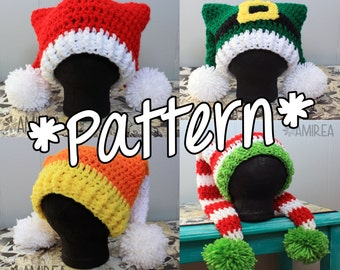 INSTANT DOWNLOAD -- Double Tail Holiday Hat Beanie - Crochet Pattern - Adult, Teen, Toddler, Baby Sizes