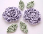 "Lilac 1-3/4"" Crochet Rose Flower Embellishments w/ Leaves Handmade Scrapbooking Fashion Accessories Appliques - 6 pcs. (3410-02L)"