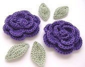 "Amethyst Purple 1-3/4"" Crochet Rose Flower Embellishments w/ Leaves Handmade Scrapbooking Fashion Accessories Appliques - 6 pcs. (3110-02L)"