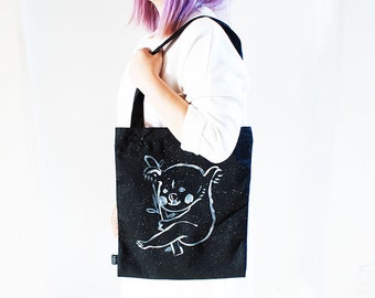 Koala Hand-painted Black Tote Bag with Zipper and Phone Pocket