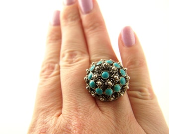 Turquoise  Ring - Sterling Silver - Mexican - Vintage