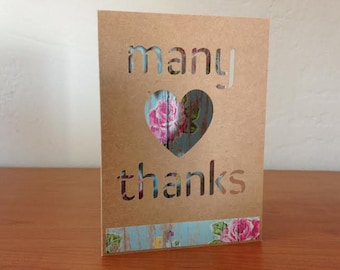 Many thanks - paper cut out card