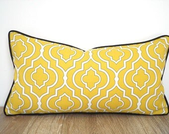 Yellow outdoor pillow cover, yellow and black cushion outside bench, trellis lumbar pillow, outdoor cushion, small chair pillow piping